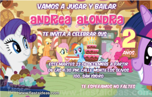 Invitaciones My Little Pony celebrando con Twilight Sparkle