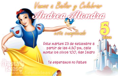 Invitaciones Blanca Nieves Gratis Personalizable Con Foto