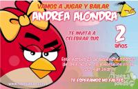 Invitaciones de Angry Birds rojo para niña