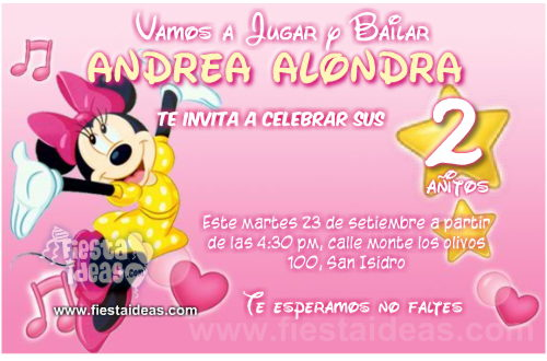 Invitaciones De Minnie Mouse Personalizadas Para
