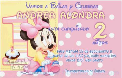 invitación Baby Minnie Disney -