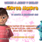 invitaciones Monster inc 2 Gratis