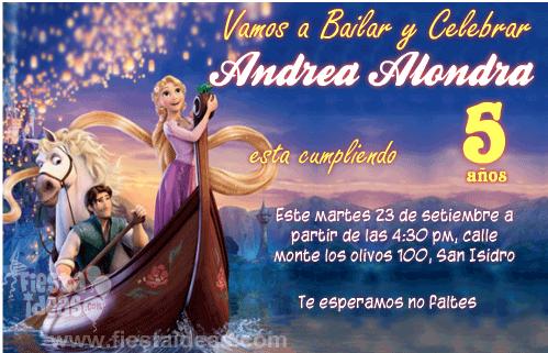 Invitaciones De La Princesa Rapunzel Gratis