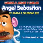 Invitaciones del sr cara de papa Toy Story listas para imprimir