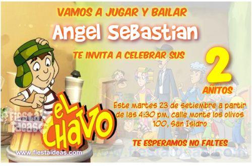 Invitaciones De El Chavo Del Ocho Y La Vecindad