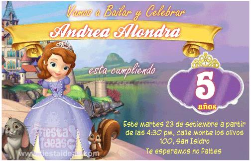 Invitaciones Para Cumple Anos De Princesa Sofia