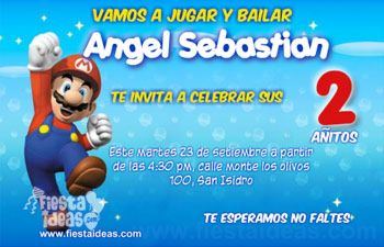 Invitaciones De Cumpleaños De Super Mario Bros Gratis
