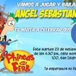 Invitaciones de cumpleaños de phineas y ferb 2 Gratis