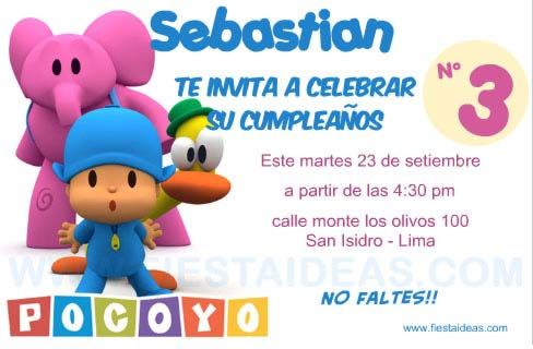 Invitaciones de cumpleaños de Pocoyo Para imprimir las que necesites