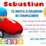 Invitaciones de cumpleaños de Pocoyo 3 Gratis