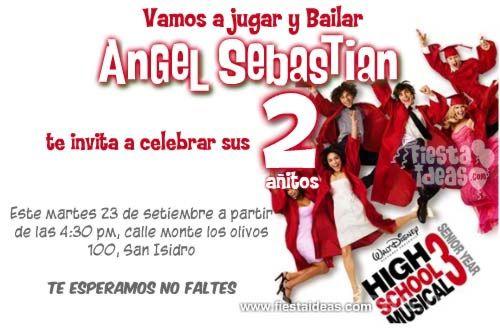Invitaciones De Cumpleaños De High School Musical Gratis