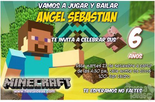 Invitaciones Para Imprimir De Minecraft