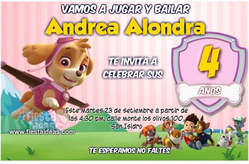 Originales Invitaciones De La Patrulla Canina Para Imprimir