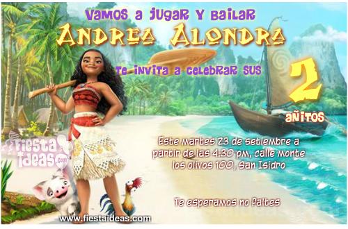 Invitaciones De Moana Originales Para Editar E Imprimir