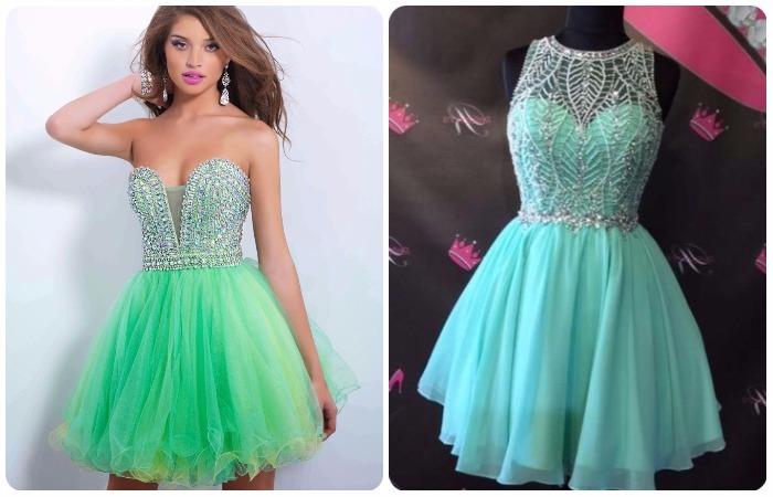 Vestidos de 15 verdes cortos