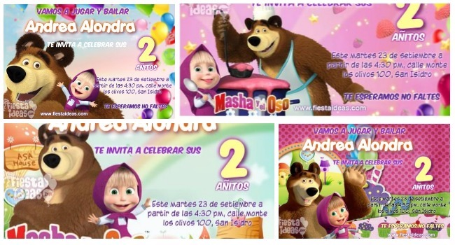 Invitaciones De Masha Y El Soso Para Editar Gratis